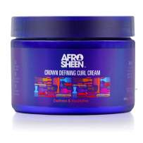 Afro Sheen Crown Defining Curl Cream. Contains Shea Butter and Coconut oil to define and hydrate. 12 Oz.