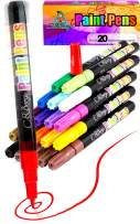 20 Paint Pens - Paint Marker Pens, Water Based Colors for Kids Adults, Sun and Water Resistant Fine Point, Paint on Rock, Wood, Glass, Ceramic, Metal, Clothes, Skin, Almost All Surfaces Model 2020