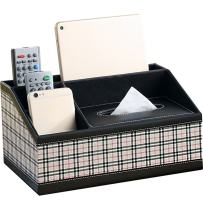WINGOFFLY Multifunction Trapezoid PU Leather Tissue Box Holder Desk Storage Box Pen Pencil Remote Control Holder Checkered
