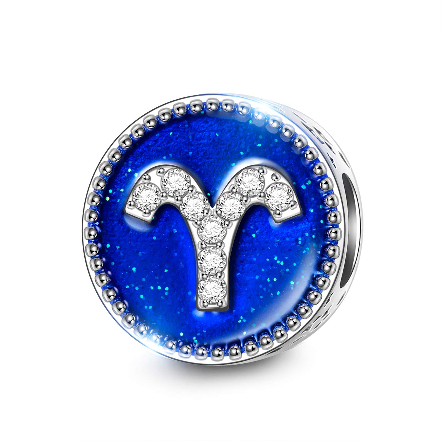 NINAQUEEN 11MM Blue Enamel Zodiac Sign Bracelet Charm 925 Sterling Silver Constellation Beads Charms for Pandöra Bracelets European Necklace Valentines Birthday Gifts for Wife Mom Girlfriend