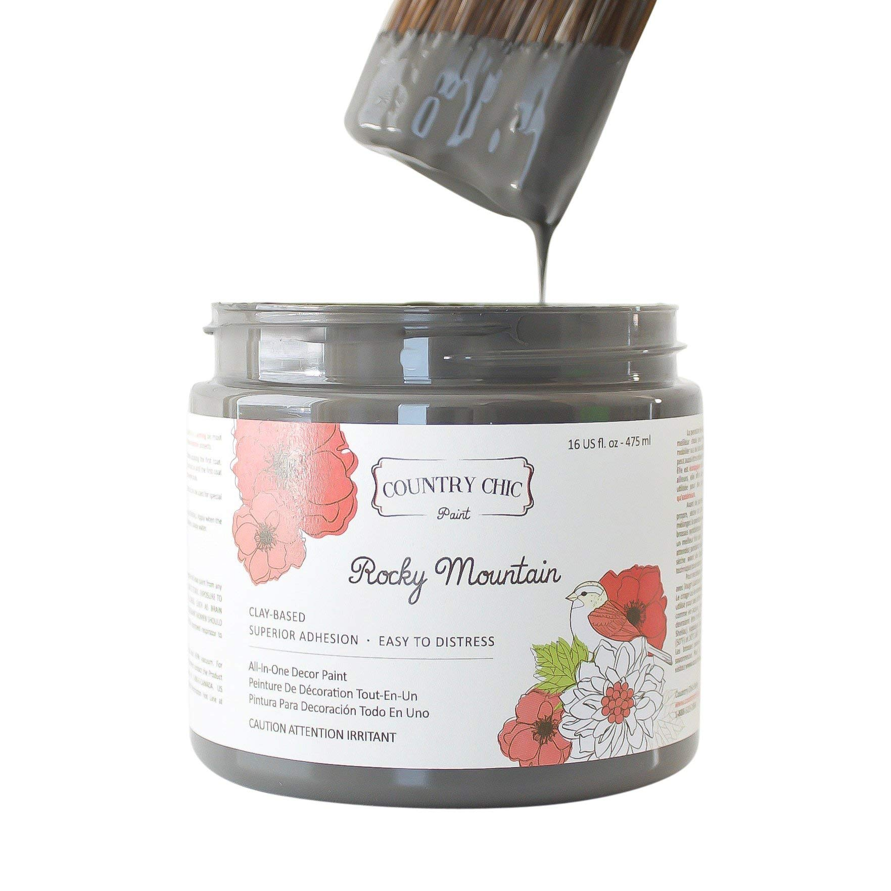 Chalk Style Paint - for Furniture, Home Decor, Crafts - Eco-Friendly - All-in-One - No Wax Needed (Rocky Mountain [Charcoal Grey], Pint (16 oz))