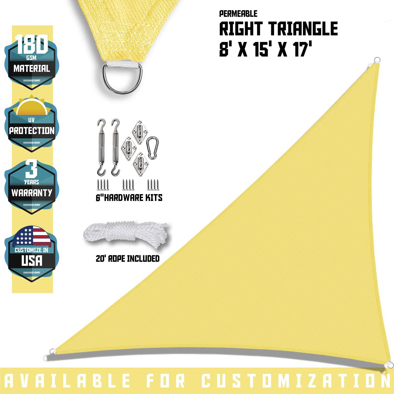 "TANG Sunshades Depot 8'x15'x17' Canary Yellow Sun Shade Sail 180 GSM with 6"" in Hardware Kit Right Triangle UV Block Outdoor Canopy Patio Garden Yard Pergola Park School Custom"
