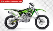 Kungfu Graphics Custom Decal Kit for Kawasaki KX450F KXF450 2016 2017 2018, Green White Stripes, Style 008