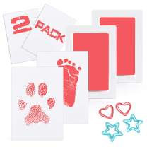 Scotamalone Baby Footprint Handprint Pet Paw Print Kit Ink Pads 2 Packs Non-Toxic Safe and Clean-Touch for Family Keepsake Baby Shower Gift and Registry Large Size Pink