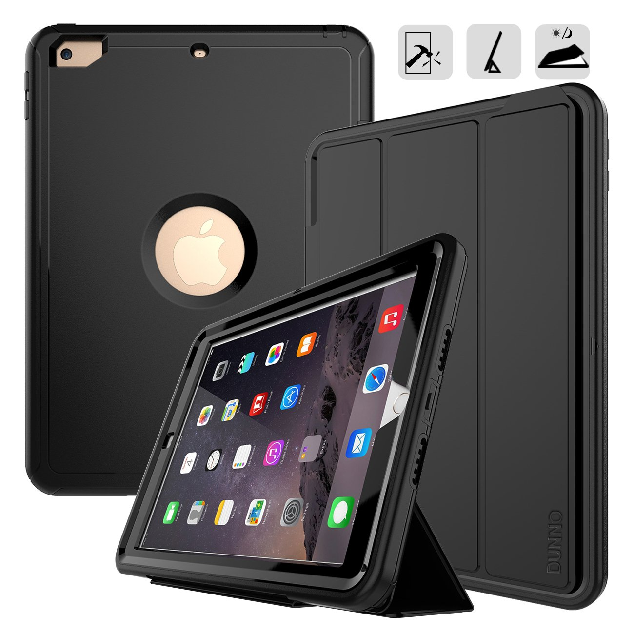 iPad 9.7 2017/2018 case - DUNNO Heavy Duty Full Body Rugged Protective Case with Auto Sleep/Wake Up Stand Folio & Three Layer Design for Apple iPad 9.7 inch 2017/2018 (Black)