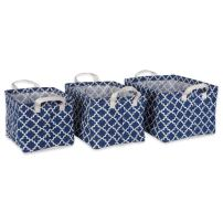 DII Cotton/Polyester PE Coated Assorted Laundry Bins, Small, Nautical Blue Lattice 3 Piece