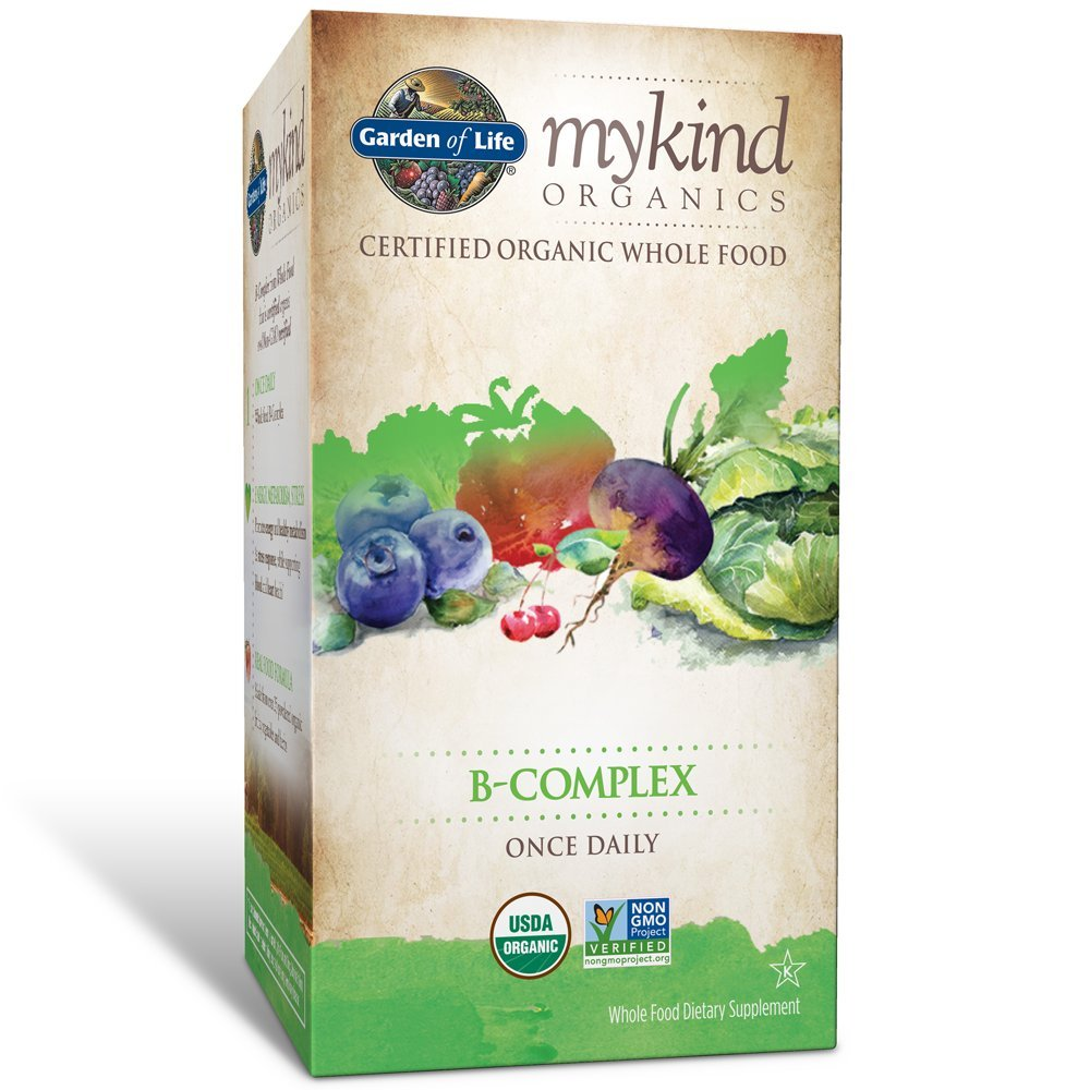 Garden of Life B Complex with Folate - mykind Organic Whole Food Supplement for Metabolism and Energy, 30 Tablets *Packaging May Vary*