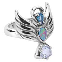 Carolyn Pollack Sterling Silver Guardian Angel Opal Triplet and Topaz Gemstone Ring Size 05 to 10