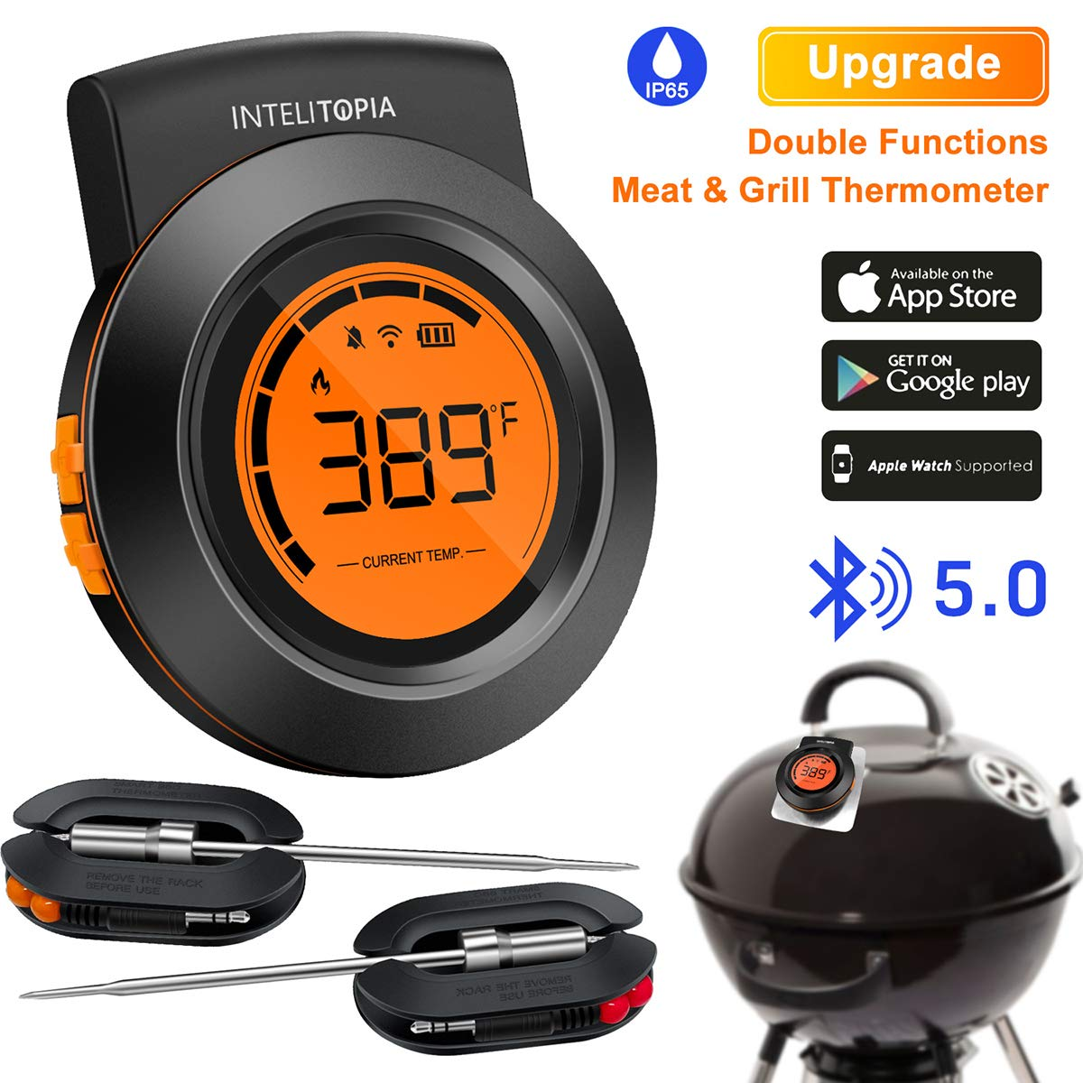 Bluetooth Meat Thermometer for Grilling, Wireless Charcoal Grill Thermometer Digital BBQ Wood Pellet Smoker Thermometer for Barbecue Kitchen Cooking with 2 Probes, Alarm Monitor Support IOS & Android