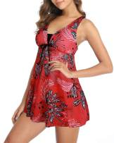 Yonique Womens Mesh Swimdress 2 Piece Tankini Swimsuit with Shorts Floral Printed Bathing Suit