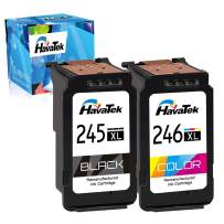 HavaTek Remanufactured 245XL Ink Cartridge Replacement for Canon 245 PG-245 XL CL-246 XL 246XL for Canon Pixma MX490 TS3122 MX492 MG2522 TR4520 TS3120 TS202 MG2525 MG2920 Printer (1 Black 1 Tri-Color)