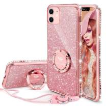 OCYCLONE Cute iPhone 11 Case, Glitter Luxury Bling Diamond Rhinestone Bumper with Ring Grip Kickstand Protective Thin Girly Pink iPhone 11 Case for Women Girl [6.1 inch] 2019 - Rose Gold Pink