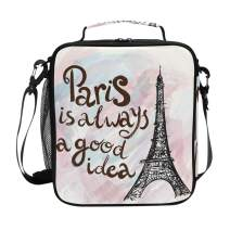Eiffel Tower Paris Lunch Box for Girls Cooler Insulated Lunch Tote Bag with Shoulder Strap for School Pink Marble