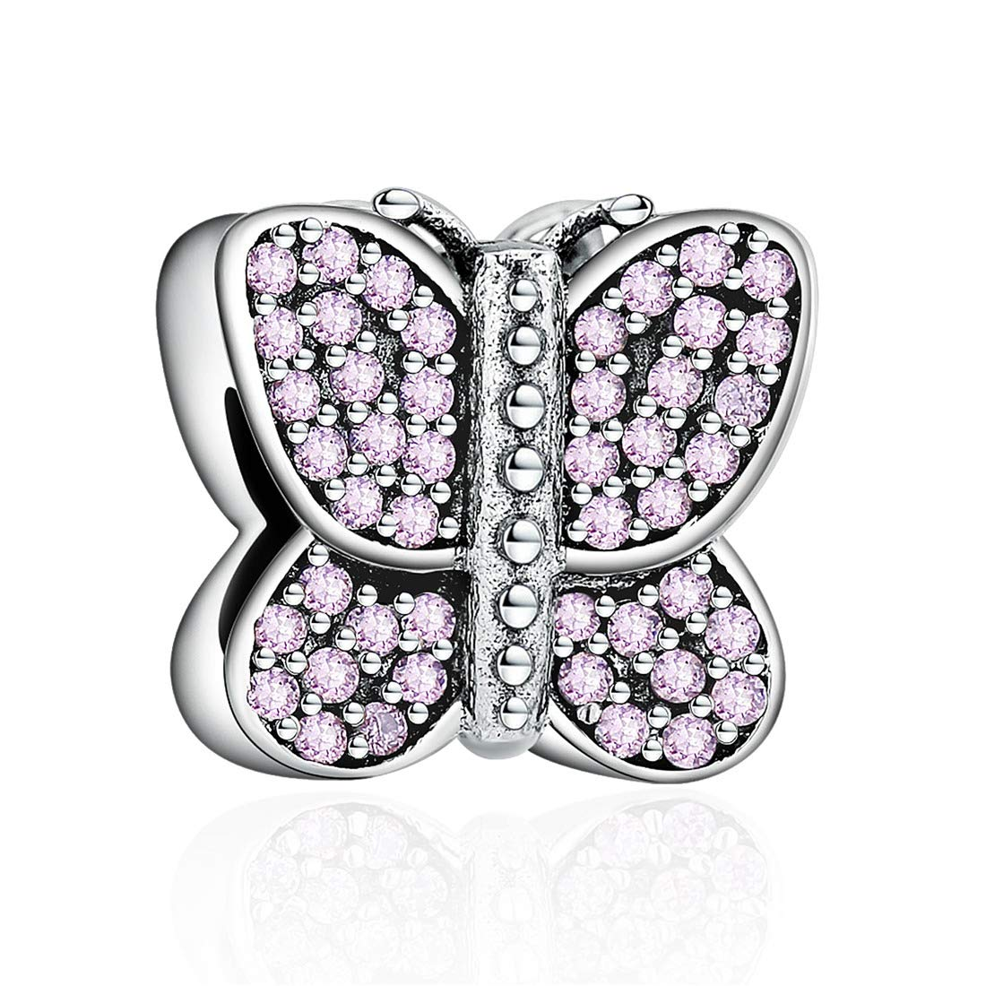 ChicSilver Sparkling Butterfly Charm 925 Sterling Silver Clear CZ Butterfly Charms Beads for Charm Bracelets