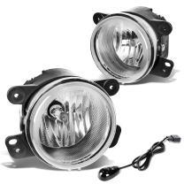 Replacement for Chrysler 300 PT Cruiser Journey Magnum Wrangler Pair Driving Fog Lights+Wiring Kit+Switch (Chrome Lens)