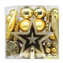 Lulu Home 75 Piece Assorted Christmas Tree Ornaments Set, Shatterproof Balls Xmas Seasonal Decorations for Christmas Tree