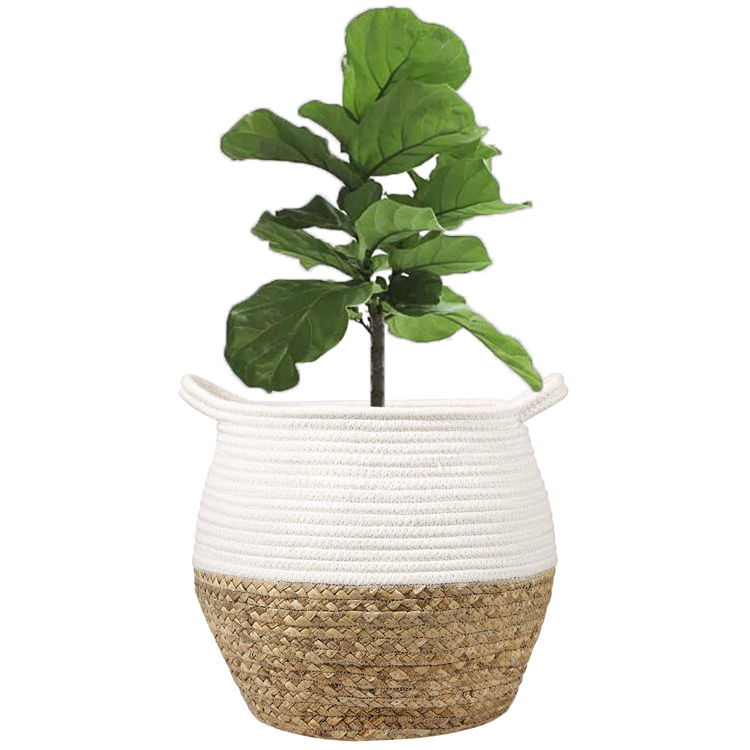 """LEEPES Natural Grass Weave Planter Basket Cotton Rope Belly Basket Home Décor Accent, Organizer, Basket for Plant (up to 8"""" Pot), Indoor Planter, Nursery Laundry Hamper, Creative Storage"""