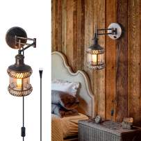Swing Arm Wall Lamp, 2-in-1 270 Angle Adjustable Industrial Rustic Wall Sconces with Plug in Hardwired ON/Off Switch Glass Shade Retro Iron Wall Light Fixtures for Bedside Bedroom Bathroom Living Room