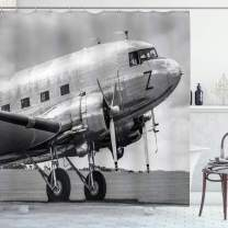 """Ambesonne Vintage Airplane Shower Curtain, Old Airliner Cockpit Antique Engine Propellers Wings and Nostalgia Image, Cloth Fabric Bathroom Decor Set with Hooks, 75"""" Long, Black Grey"""