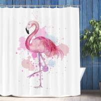 """VIMMUCIR Flamingo Shower Curtain, Retro Tropical Flamingo Print with Watercolor Splash Polyester Bathroom Curtains for Home Decor, Stalls and Bathtubs, Water Repellent, 12 Hooks Included, 72"""" W x 72""""H"""