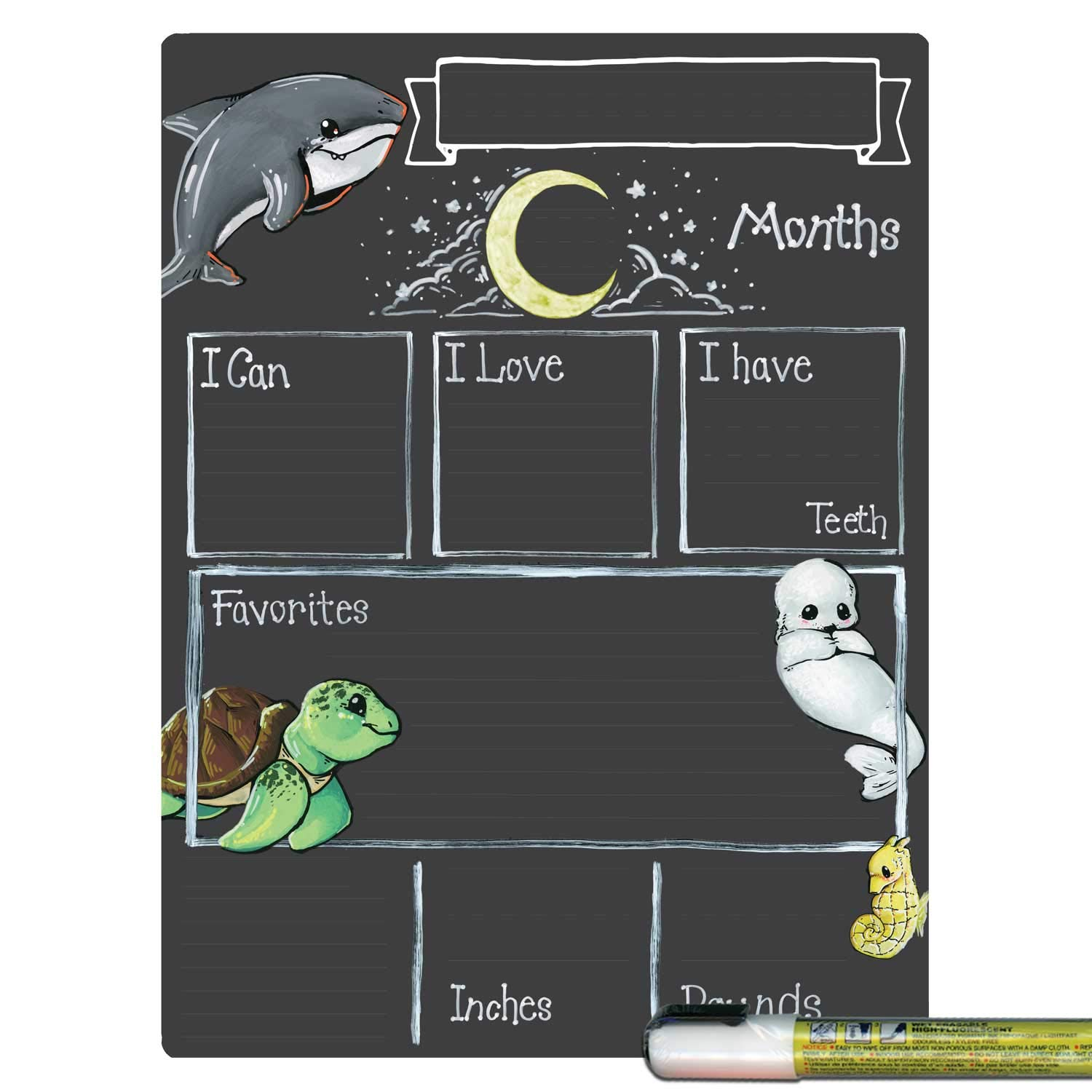 Cohas Monthly Milestone Board for Baby with Ocean Theme, Reusable Chalkboard Style Surface, and Liquid Chalk Marker, 9 by 12 Inches, White Marker