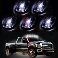 Cab Marker Light 5pcs Smoke Lens Top Clearance Roof Running Marker Assembly White Bulbs fit for 2012-2016 Dodge Ram 1500 2500