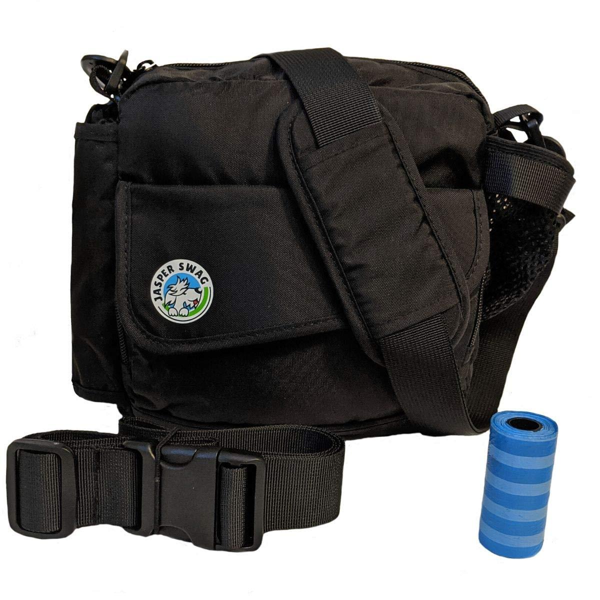 Jasper Swag Premium Dog Walking Bag, Fanny Pack Waterproof Purse with Water Bottle Holder   Dog Walking, Training, Travel, Dog Treat Pouch   Nylon Crossbody Messenger Body Bag