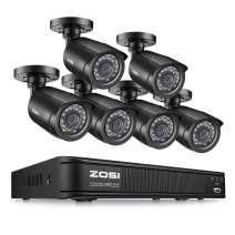 ZOSI Home Security Camera System 1080P, 8 Channel CCTV DVR Recorder with 6 Pack 1080p HD Surveillance Camera Outdoor Indoor, No Hard Drive