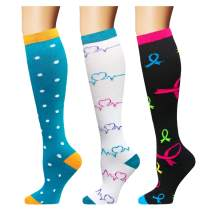 Compression Socks (3 Pairs), 15-20 mmHg is Best Athletic & Medical for Men & Women, Running,Flight,Travel,Nurses