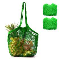 Coofig 2 PCS Eco-Friendly Cotton Net Shopping Bag Reusable Mesh Tote Handbag with Long Handles Portable String Bag Organizer for Shopping/Outdoor Packing/Beach Toys/Fruit/Vegetable(Green L)