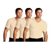 Insta Slim ISPRO Slimming V-Neck Short Sleeve Top Shapewear Compression Shirt for Men - (Pack of 3)