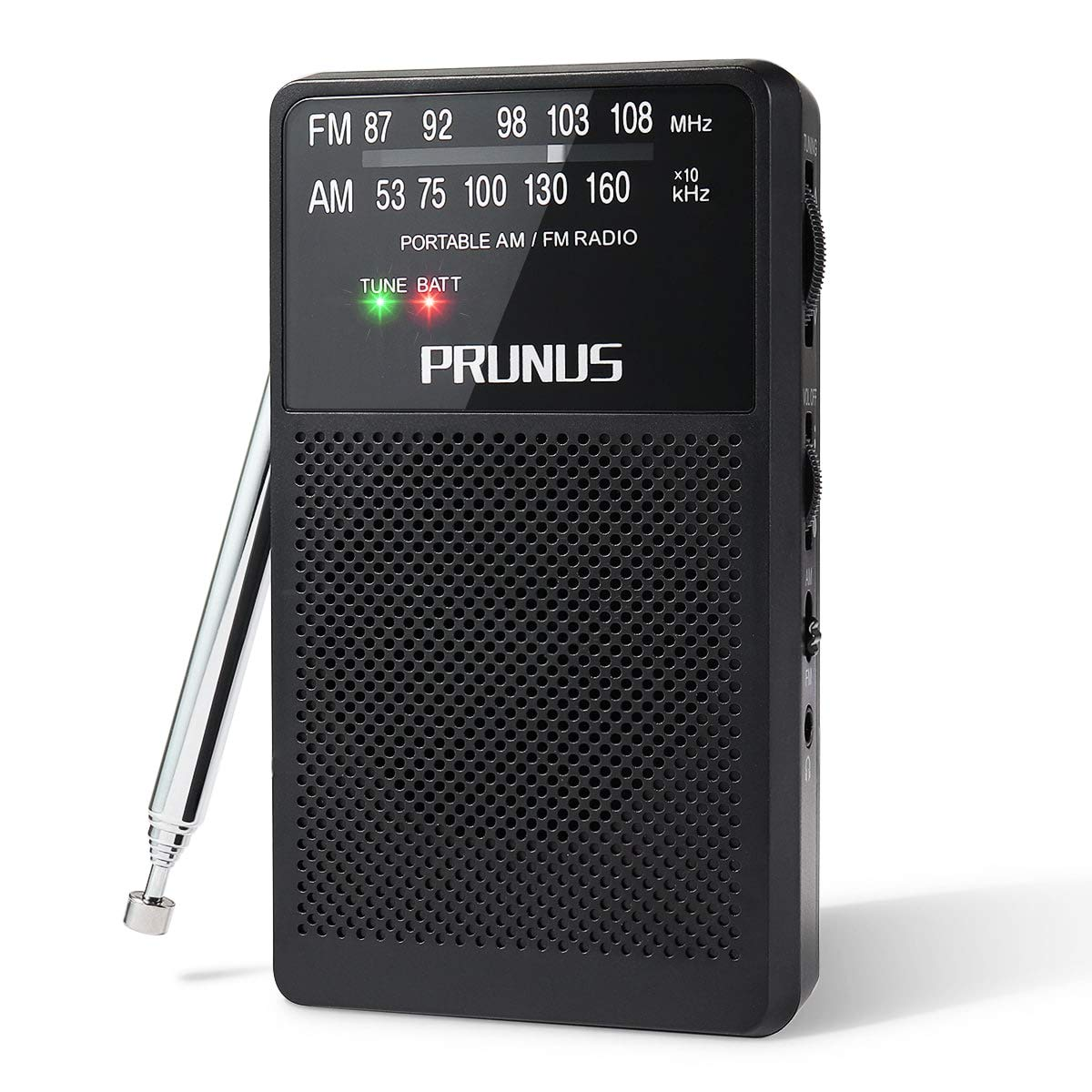 ANJAN-A166 AM/FM Portable Radio, Small Transistor Radio with Ultra-Long Copper Antenna, Excellent Reception, Tuning Knob with Signal Indicator, Supports Replaceable Battery (AA) (Black), by PRUNUS