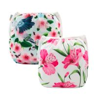 ALVABABY Swim Diapers 2pcs Reuseable Washable for Baby Swimming Lessons (Baby Girls) (Flowers, Large Size (0-3 Years Old))