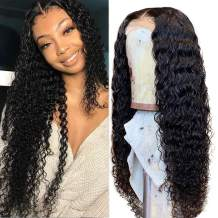 Fuduete Deep Wave Lace Front Wigs Human Hair 150% Density 4X1 T Part Deep Curly Closure Wigs for Black Women Pre Plucked with Baby Hair Natural Color(4X1 T Part Deep Wig, 24Inch)