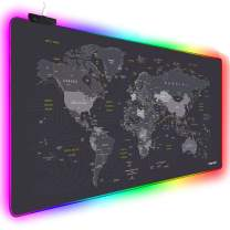 Extended RGB Mouse Pad Mat, rnairni Large Office Table Desk Mat Gaming Lighting Led Mousepad for PC Computer MacBook Keyboard Waterproof Anti-Slip Ultra Thin 4mm - 31.5'' x 15.7' (World Map)