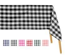 "Black Buffalo Plaid Tablecloth - Cotton Checked Tablecloth - Black Cotton Table Cloth - Buffalo Checked Tablecloth - Black Checkered Table Cloth (Table Cloth (63 X 126), 1"" Checks (Black and White))"