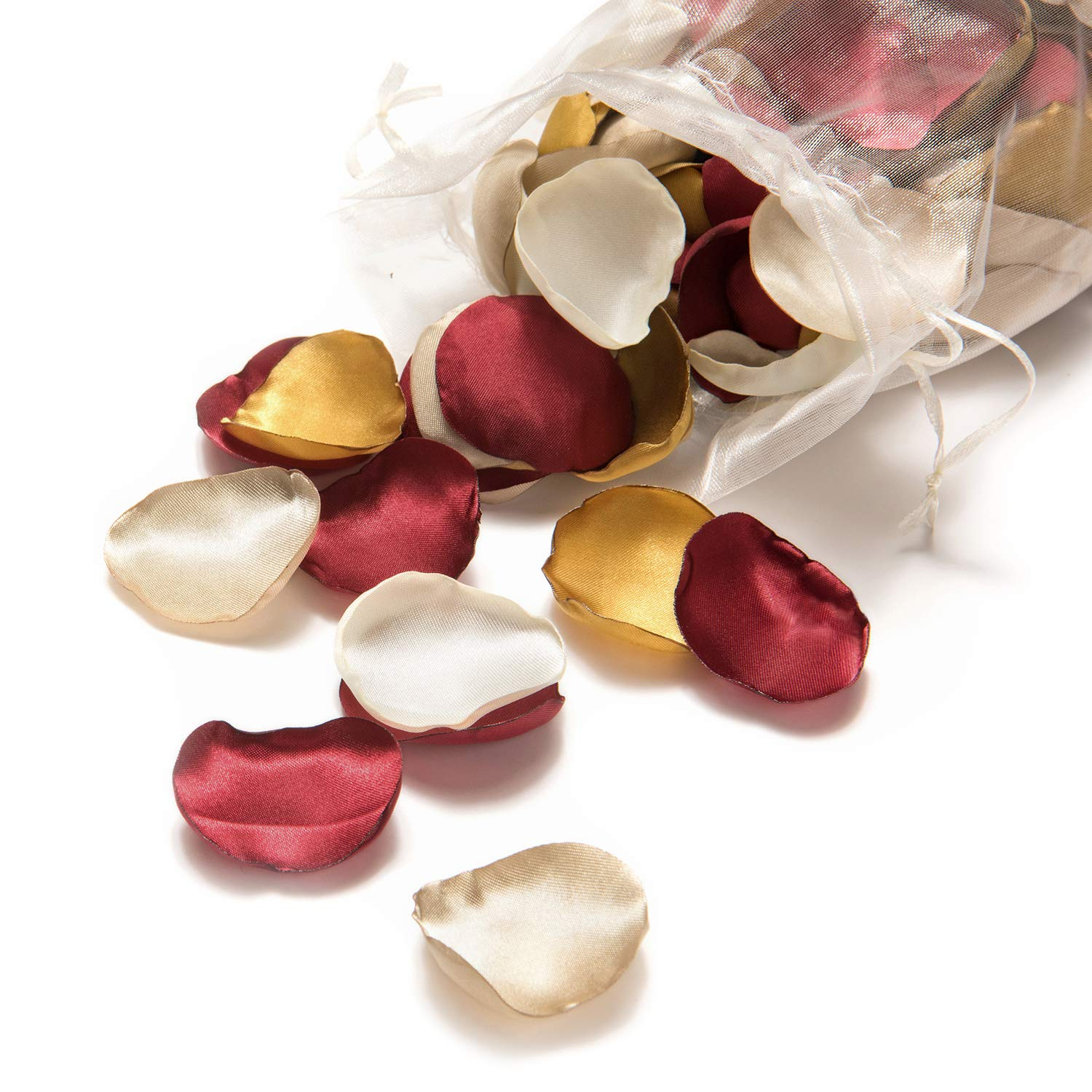 Ling's moment Silk Rose Petals 200PCS Burgundy Gold Flower Petals for Wedding Flower Girl Basket Table Centerpieces Cake Table Sweetheart Table Aisle Scatter Petals