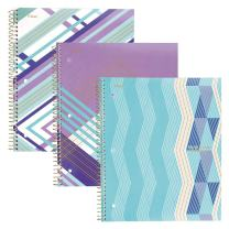 "Five Star Spiral Notebooks, 1 Subject, College Ruled Paper, 100 Sheets, 11"" x 8-1/2"", Interrupt Purple, V Purple, ZigZag Purple, 3 Pack (38505)"