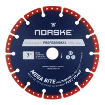 Norske Tools NDBS338 7 inch Mega Bite Diamond Vacuum Brazed Cutoff Wheel 5/8 inch Bore with Diamond Knockout for Cutting in Wood, Tubular Metals, non-Ferrous Metals, Masonry Products, Tiles and PVC