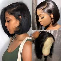 Short Straight Bob Wigs Brazilian Human Hair Lace Front Wigs for Black Women (8inch) 13x4 Lace Front Wigs 150% Density Pre Plucked with Baby Hair