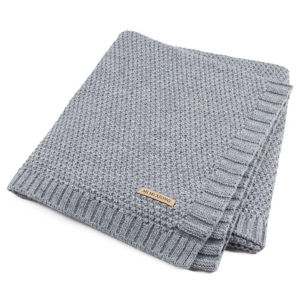 SOBOWO Baby Swaddle Blanket, Babies Knit Soft Wrap Stroller Blankets for Infant Girls Boys Cribs, Nursing (Gray)