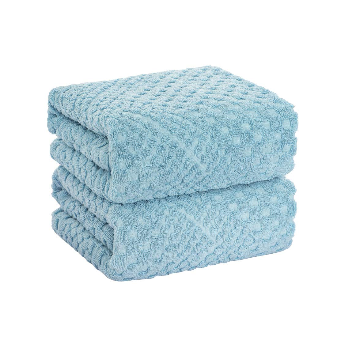 PiccoCasa 100% Cotton Jacquard-Woven Bath Towel Set 27 x 54 Inches Soft Thick and Absorbant Bathroom Towels Blue