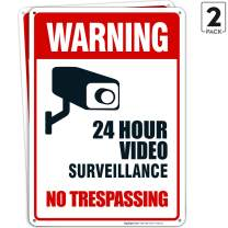 Video Surveillance No Trespassing Sign, CCTV Security Camera, 10x14 Heavy 0.40 Aluminum, UV Protected, Weather/Fade Resistant, Easy Mounting, Indoor/Outdoor Use, Made in USA by SIGO SIGNS (10x14, 2)