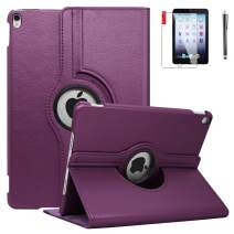 NEWQIANG iPad Case 6th Generation with Bonus Screen Protector and Stylus - iPad 9.7 inch Air1 2018 2017 Case Cover - 360 Degree Rotating Stand, Auto Sleep Wake - A1822 A1823 (Dark Purple)