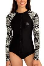 AXESEA Women's Rash Guard Tops Long Sleeve Bathing Suits Printed UV Sun Protection Swim Shirt