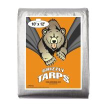 B-Air Grizzly Tarps - Large Multi-Purpose, Waterproof, Poly Tarp Cover - 10 Mil Thick (Silver - 10 x 12 Feet)