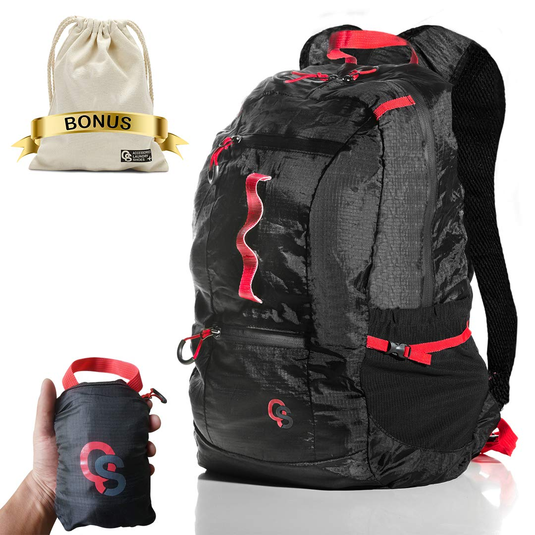 Lightweight Packable Backpack for Travel - 22L Waterproof Foldable Backpack for Backpacking - Ultralight Carry On Daypack - Water Resistant 210D Nylon Collapsible Day Pack - Light Folding Hiking Bag