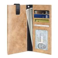 PULOKA iPhone 11 Pro Max Wallet Pouch Sleeve for iPhone Xs Max Case with Card Holder [Phone Pocket] iPhone 6/6s/7/8 Plus Leather Money Clip for Men [Brown]
