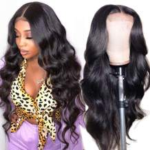 Lace Front Human Hair Wigs for Women Pre Plucked Hairline 220% Denisty Brazilian Body Wave Lace Front Wigs with Baby Hair Natural Color (16inch, 220% Denisty)