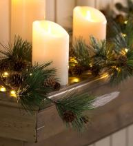 Plow & Hearth Indoor Decorative Battery Operated LED Lighted Mini Pine Cone Garland with Faux Greenery 72'' L